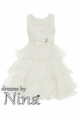 Party frock Bridesmaid dress Flower girl Ivory with Crystal 1 to 9yr