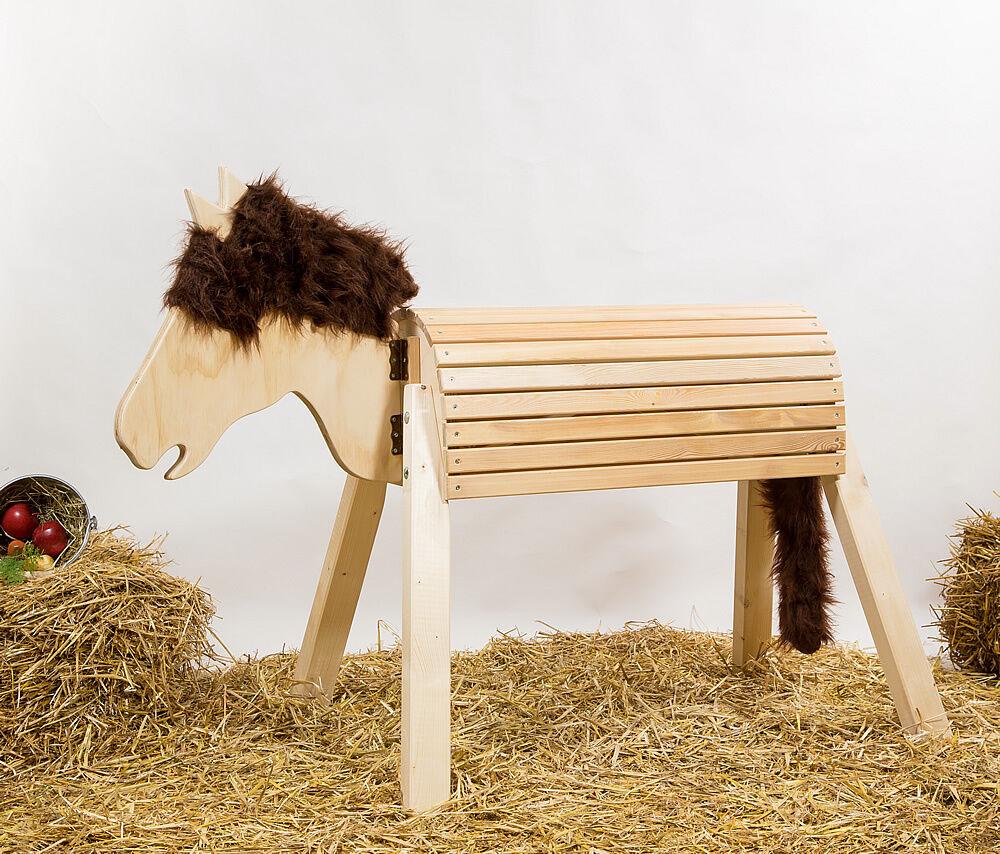 Holzpferd-Voltigierpferd-Pferd mit beweglichem Kopf ca.90cm, ohne Lasur