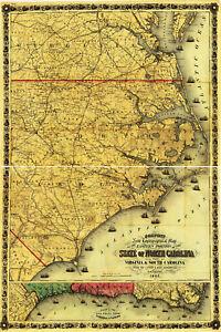 1861-Civil-War-Map-North-South-Carolina-Virginia-Costal-Naval-Wall-Poster-Decor