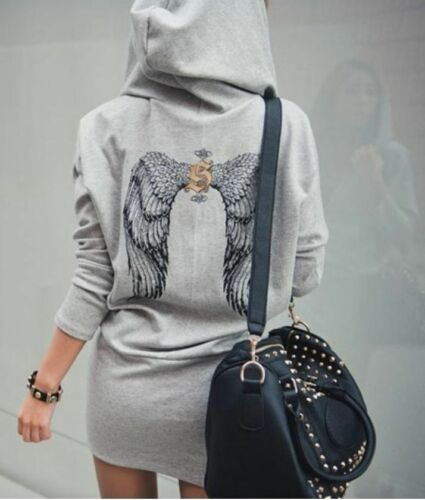 New Hoodie Dress Wings Back Hood Jacket Womens Fashion Jumper Varsity Cardigan