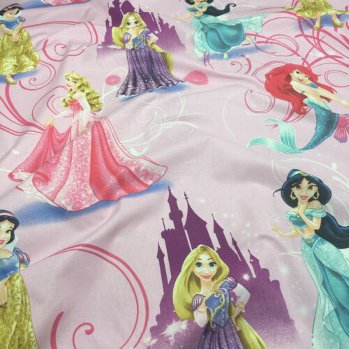 "Princess Glamour Pink Novelty Design Fabric Cotton Kids Children 55/"" Width"