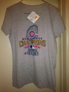 reputable site 285ed eeb35 Details about NWT Chicago Cubs T-Shirt World Series Champs Majestic Locker  Room Womens L USA