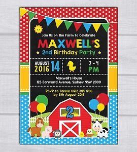 Image Is Loading FARM ANIMALS INVITATION Barnyard Invite First Birthday Party