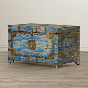 Charmant Image Is Loading Anthropologie Replica Moroccan Painted Brass Inlay Storage  Trunk