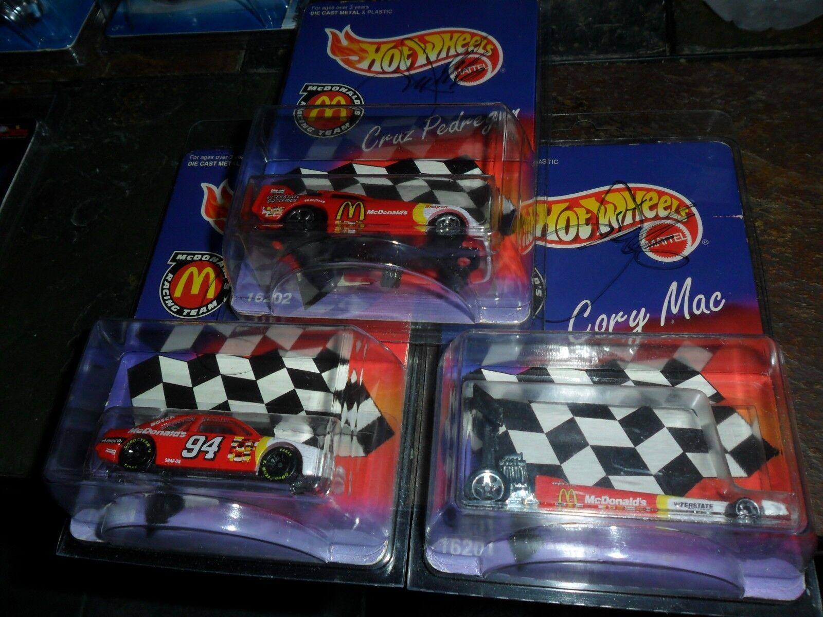 3 CAR LOT AUTOGRAPHED HOT WHEELS CORY MAC BILL ELLIOTT CRUZ PEDREGON MCDONALDS