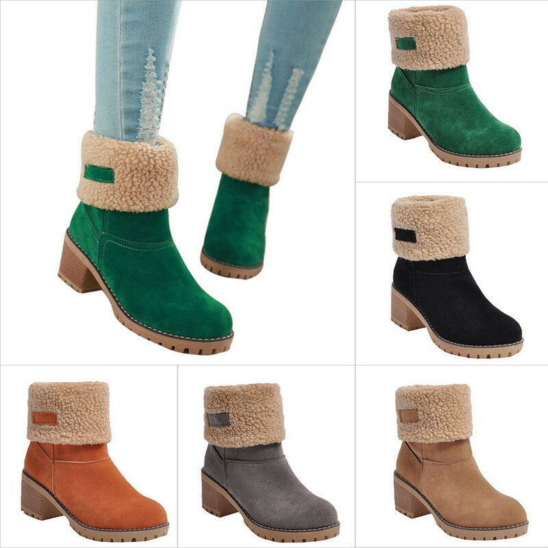 Fashion Lady Snow Boots shoes Square Heels Ankle Boots Suede Winter shoes UK