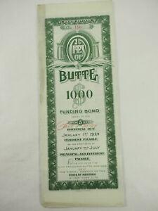 1916-Stato-di-Montana-Citta-di-Butte-Funding-Bond-con-Coupons-Paid