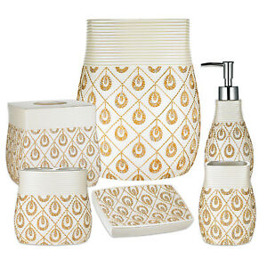Popular Bath Seraphina Bathroom 6 Piece Bath Accessory Set- Beige/Gold