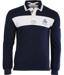 85528033a Gents Rugby Shirt With Thistle Logo In White Navy Long Sleeve Design ...
