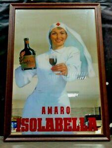 Pubblicita-AMARO-ISOLABELLA-specchio-serigrafato-Raro-anni-80-nuova-CM-64-X-44
