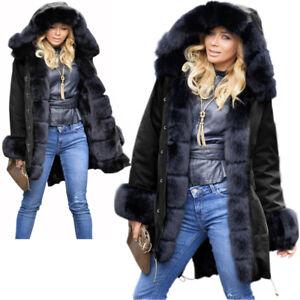 Women-Ladies-Black-Faux-fur-Warm-Jacket-Long-Top-Coat-Button-Style-Parka-Outwear