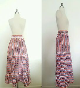 11389184e9 1950s Vintage Red White and Blue Tiered Maxi Skirt Size Small