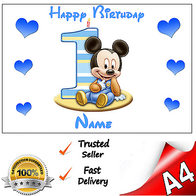 Fine Mickey Mouse 1St First Birthday Personalised A4 Edible Rice Paper Funny Birthday Cards Online Aboleapandamsfinfo
