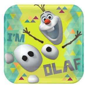 ~ Birthday Party Supplies Cake Dessert Disney FROZEN OLAF SMALL PAPER PLATES 8