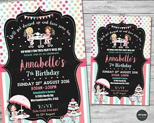 Tea party invitations personalised birthday party invite high tea image is loading tea party invitations personalised birthday party invite high stopboris Images
