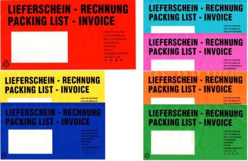 Lieferscheintaschen DIN-LANG Dokumenten selbstklebend Mengen+Farben wählbar
