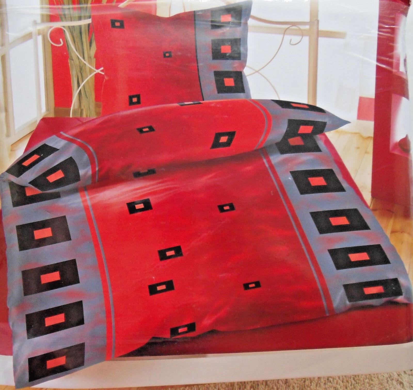 2 tlg. Bettwäsche mit RV  KARO WISCH  Rot Schwarz, warmes weiches Thermo Fleece  | Bekannt für seine schöne Qualität