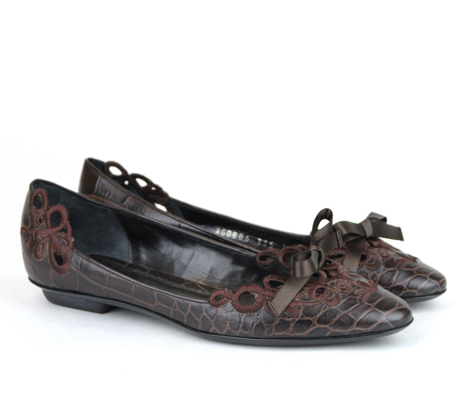 550 New Authentic GIORGIO ARMANI Pelle Flats Crocodile Crocodile Flats Imprint marrone XGDB86 6ddc59