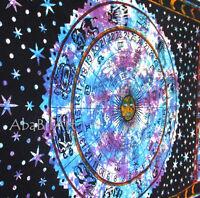 Twin Zodiac Indian Tie Dye Mandala Tapestry Wall Hanging Astrology Bedspread Art