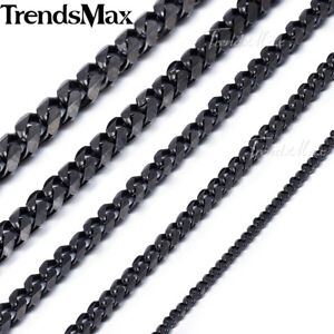 Mens-Stainless-Steel-3-5-7-9-11mm-Black-Tone-Curb-Cuban-Link-Chain-Necklace