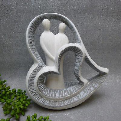 2er SET Dekoobjekte Formano weiß silber Keramik 22cm Skulpturen HERZEN