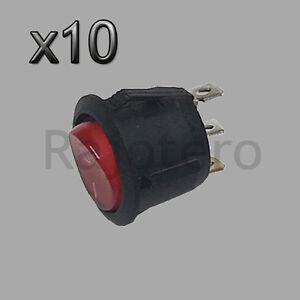 10X-Interruptor-Basculante-Redondo-Rojo-iluminado-3-polos-con-luz-220V