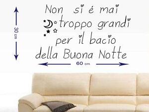 Dettagli Su Adesivi Murali 30x60 Adesivo Muro Wall Stickers Frasi Frase Bacio Buonanotte