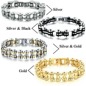 Mens-Stainless-Steel-Motorcycle-Bike-Chain-Bracelet-Rock-Link-Wristband-Jewelry