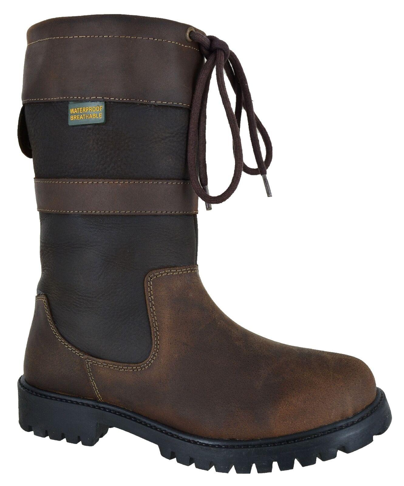 País De Montar a Caballo Confort De Las Señoras De Cuero Inteligente Casual Zapatos botas Impermeable Talla