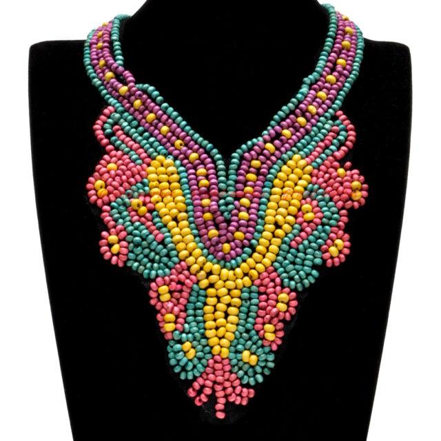 Fashion Bohemia Boho Multi-Color Wood Seed Beads Collar Pendant Bib Necklace