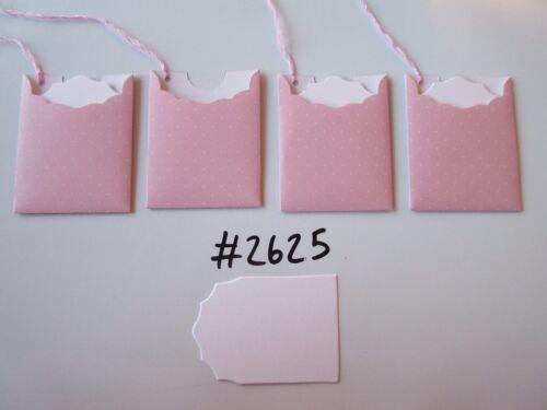 Lot de 4 #2625 rose avec petits points blancs unique fait main cadeau tags
