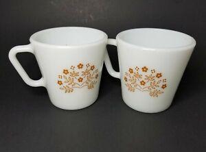 2 Vtg Pyrex Corelle Corning Brown Flowers Summer Impressions Mugs