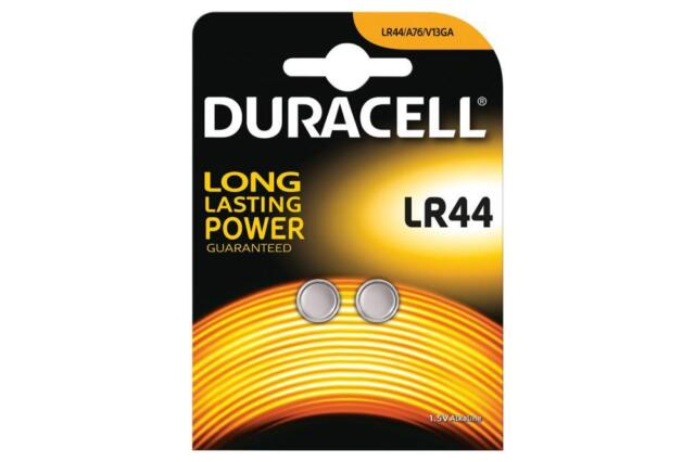 Duracell 656.996UK High Quality LR44 Alkaline Button Cell Battery Card of 2 New