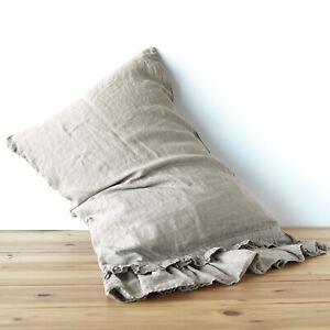 Linen-pillow-case-sham-RUFFLE-pure-linen-100-linen-stonewashed-Washed-linen