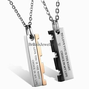 Mens womens stainless steel pendant chain couple love promise image is loading mens womens stainless steel pendant chain couple love aloadofball Choice Image
