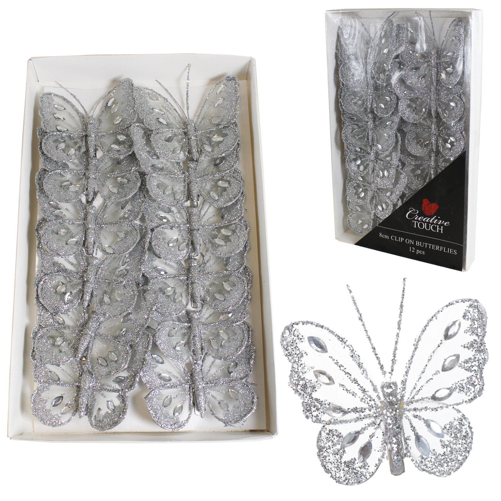 Clip on Glitter Butterflies 16 Pack 4cm Silver Christmas Decorations
