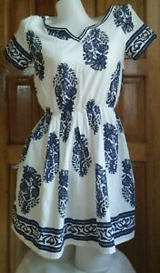 DressNStyle-Branded-GOODNIGHT-MACAROON-White-amp-Blue-Aztec-Design-Casual-Dress