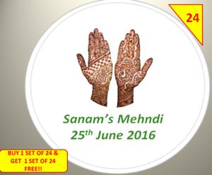 Mehndi Stickers Personalised  Henna Eid Mubarak Thank You Stickers