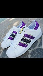 Dettagli su scarpe adidas superstar con glitter viola e blu e borchie argento