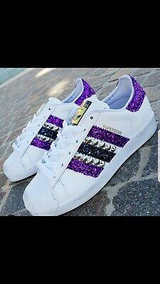 scarpe adidas superstar con glitter viola e blu e borchie argento   eBay