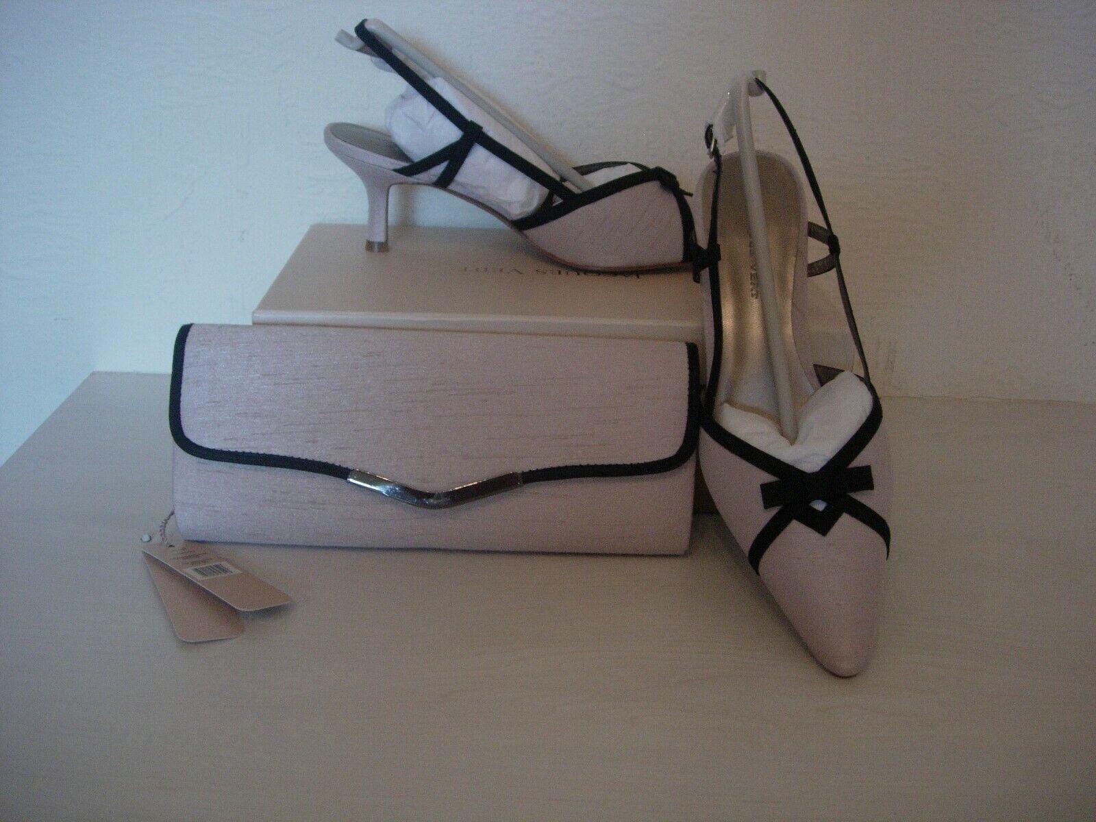 Jacques Vert Nœud Bordure chaussures et sac assorti-beige noir taille 4-NEUF
