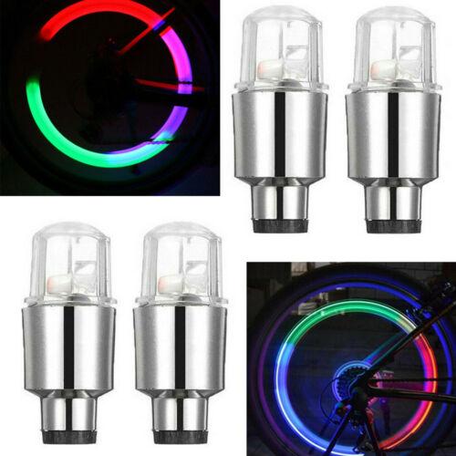 4//8X LED Wheel Tire Tyre Valve Caps Blue//Red Neon Light for Car Motorcycle Bike