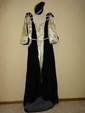 Renaissance Royal Queen Women's Costume Regal Black Gown Medieval Dress Velvet