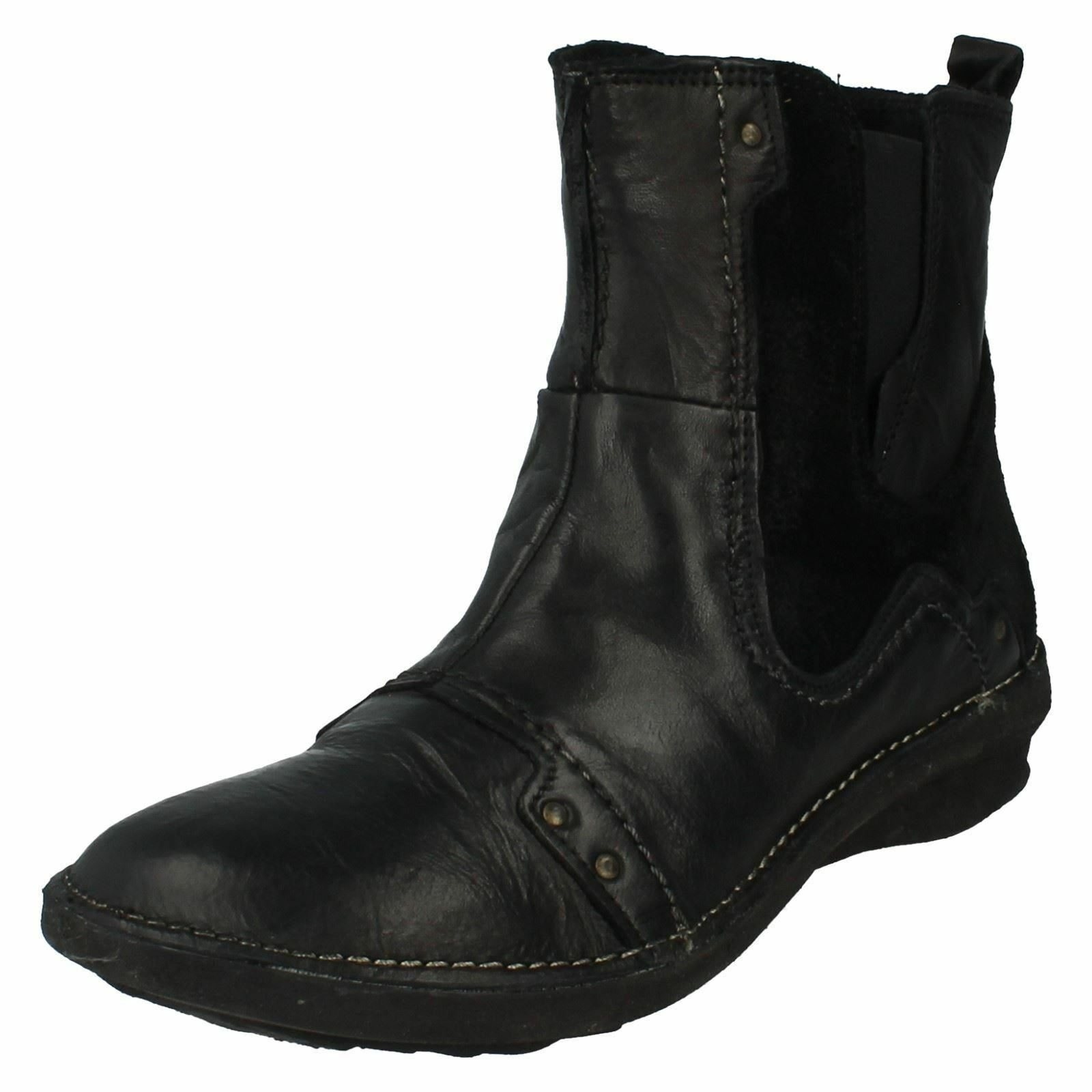 LADIES KHRIO BLACK CASUAL WINTER LEATHER ZIP UP FLAT ANKLE BOOTS  27146RNN