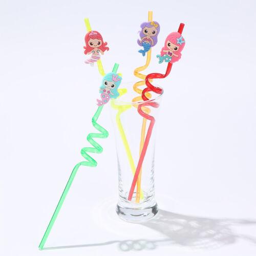 4pcs Reusable PVC Drinking Straws Cute Mermaid Straws Hawaii Party Table DecorFF