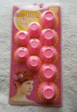10 Pink Silicone Peco Roll Curlers Rollers Hair Styling Brand New