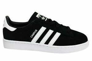 Details about Adidas Originals Campus Kids Black White Leather Lace Up Youths Trainers BY9594
