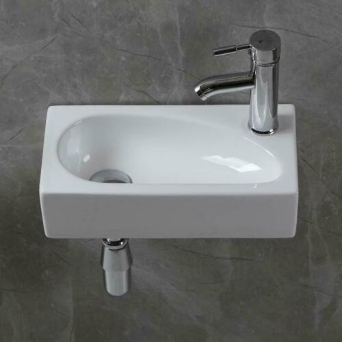UK Small Ceramic Wash Basin Compact Sink Wall Hung Countertop Bathroom White