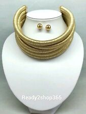 Multi Gold 5 Row Layer Metallic Wide Necklace Stacked Coil Choker Collar Strand