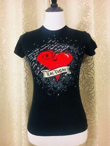 Las-Vegas-rhinestone-Womens-T-Shirt-Small-S-Top-Short-Sleeve-Blouse-Black-Heart